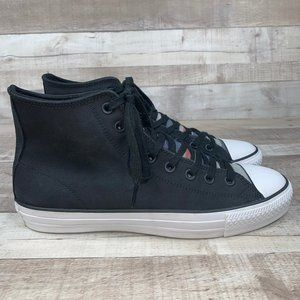 Converse Black Leather Lace Up Sneakers Shoes 11.5